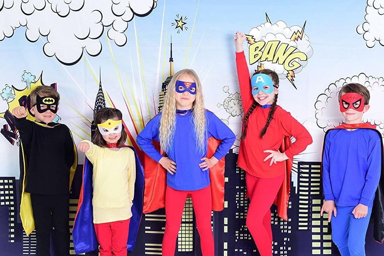 U.I. Juego de ropa de dos caras para disfraz de superhéroe para niños y niñas, para disfraz o disfraz de Batman, Spiderman, Superman y Iron Man (Capes + ...
