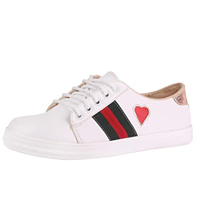 new style 5d211 24419 Jking Footwear Casual Party Synthetic Leather and Comfortable White Heart Sneakers  for Women and Girls  Buy Online at Low Prices in India - Amazon.in
