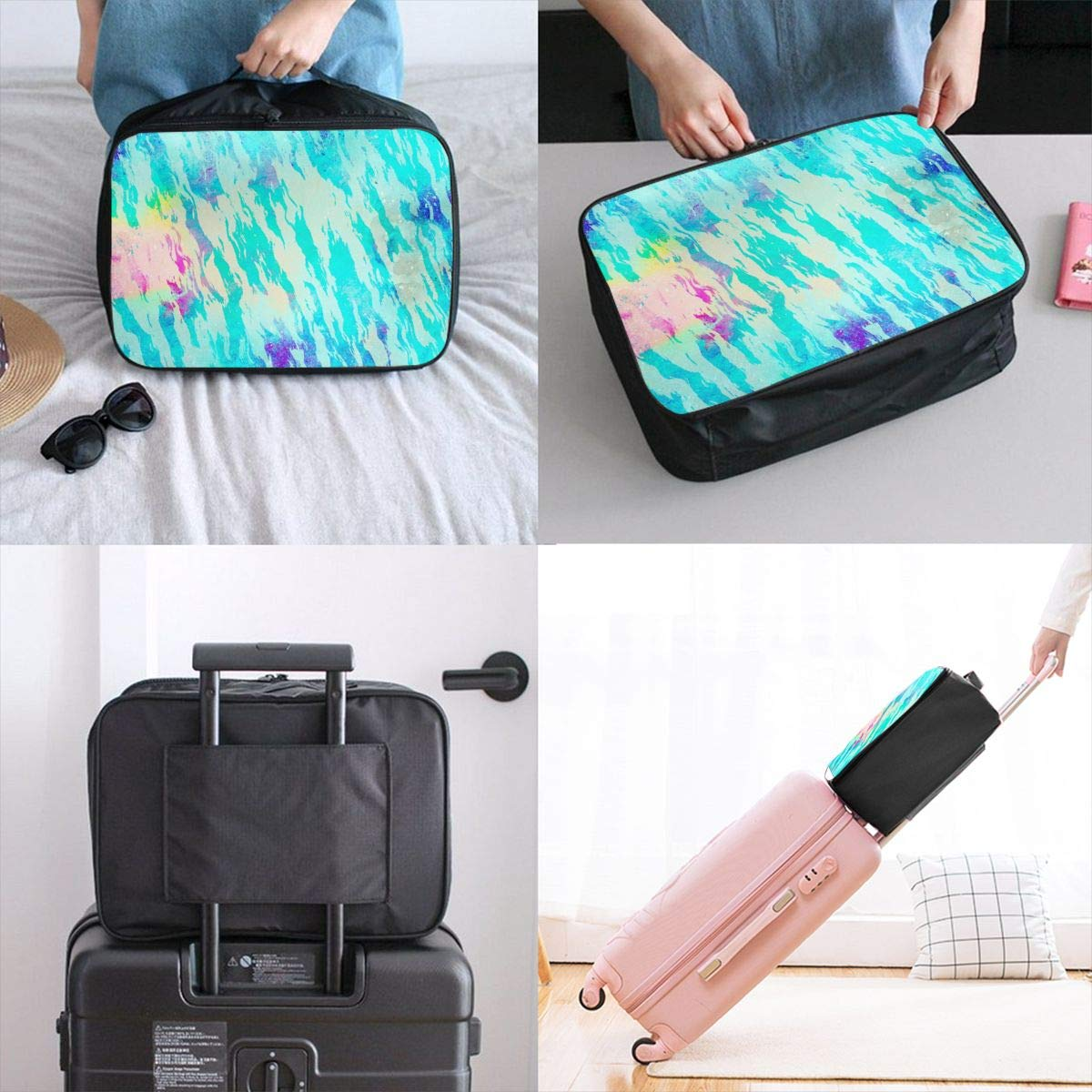 Abstract Art Shape Doodle Travel Lightweight Waterproof Foldable Storage Carry Luggage Large Capacity Portable Luggage Bag Duffel Bag