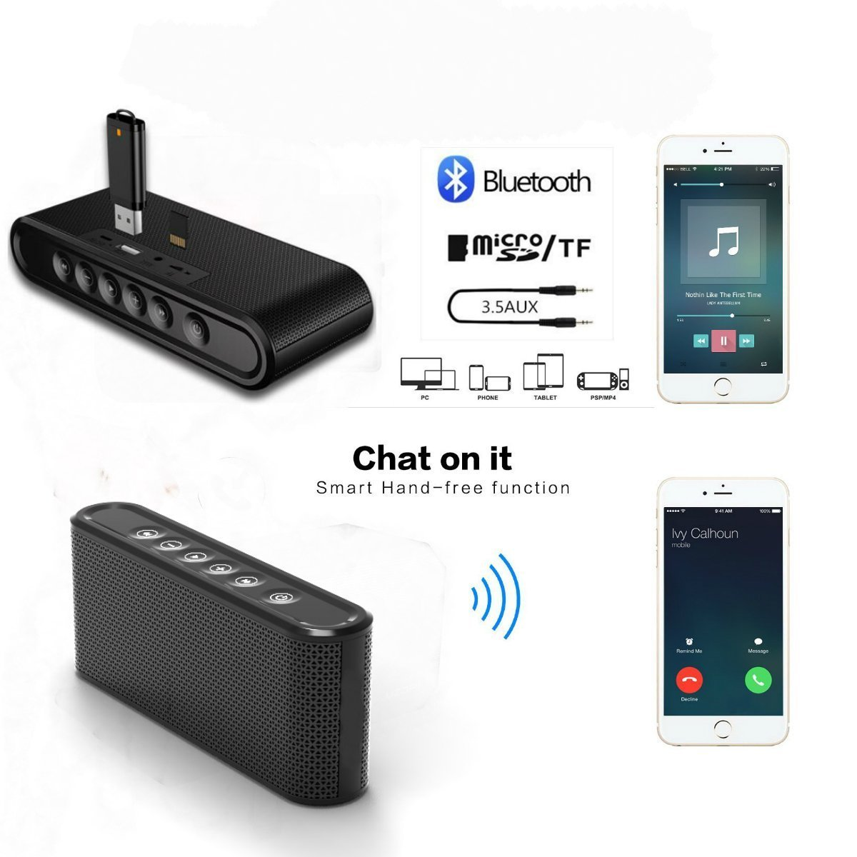 Bluetooth Speakers, 6W Touch Metal Speakers, Mini Portable Bluetooth 4.2 Wireless with Super Bass, Treble Stereo Subwoofer, Support TF Card, USB Disk, 3.5mm AUX Input,Mobile Computer Accessories by WORENMI (Image #6)