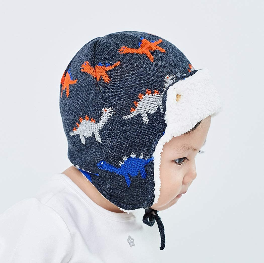 Premewish Baby Boys Girls Trapper Hat Winter Warm Knitted Earmuff Hats with Ear Flaps and Chin Ties Toddler Infant Earflap hat Plush Lining Hood Cap for 0-4 Years Kids