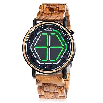 eb10fbf84fc Woden Mens Watch Digital LED Display Night Vision Handmade Bamboo Wirst  Watches