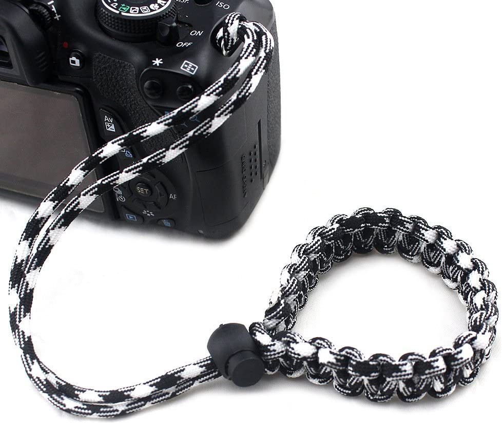 ROWEQPP Fashion Braided Digital Camera Strap Camera Wrist Strap Hand Grip Wristband Replacement for Nikon Compatible with Canon Compatible with Sony Green and White Camouflage