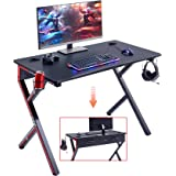 """Mr IRONSTONE Gaming Desk 45.2"""" W x 23.6"""" D Home Office Desk, Gaming Workstation with Power Strip of 3-Outlet & 2 USB…"""