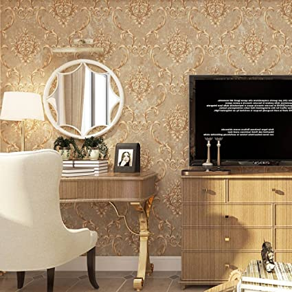 QYC European Wallpaper Non Woven Pattern Stereo Bedroom Living Room Porch Restaurant TV Background Wall