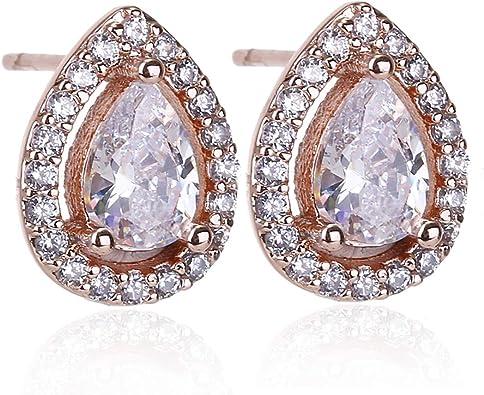 Gold Plated Earring Women Girl Teardrop Stud Earrings White Wedding Anniversary Gift Crystal Stone