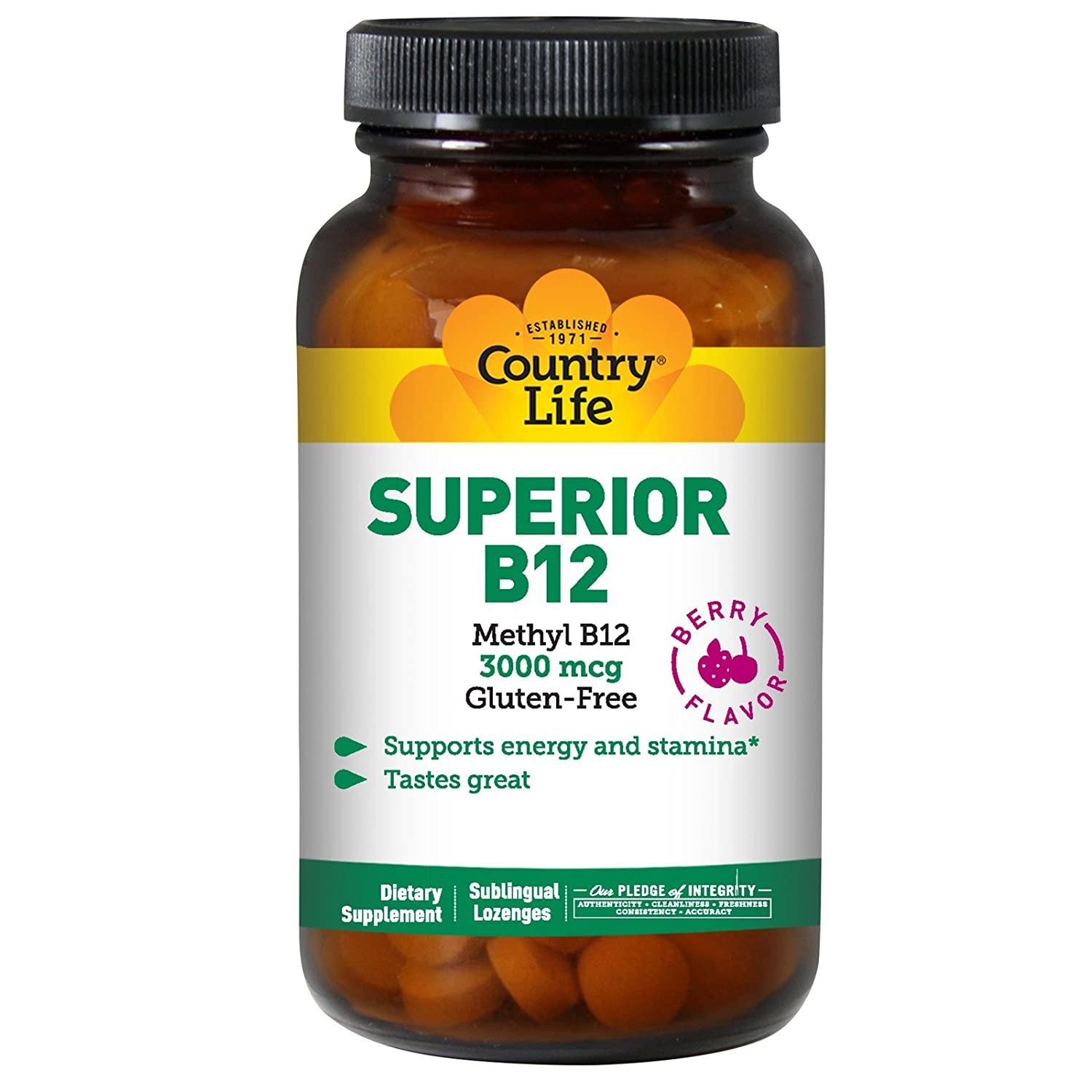 Country Life Superior B12-120 Sublingual Lozenges – 3000 mcg – Methyl B12 – Supports Energy and Stamina -Tastes Great