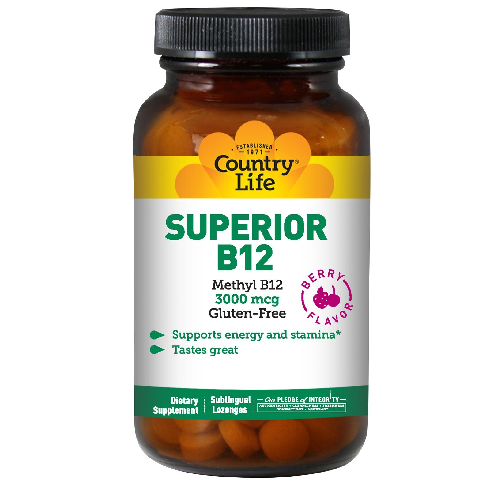 Country Life - Methyl B-12, Berry Flavored, 3000 mcg - 120 Lozenges