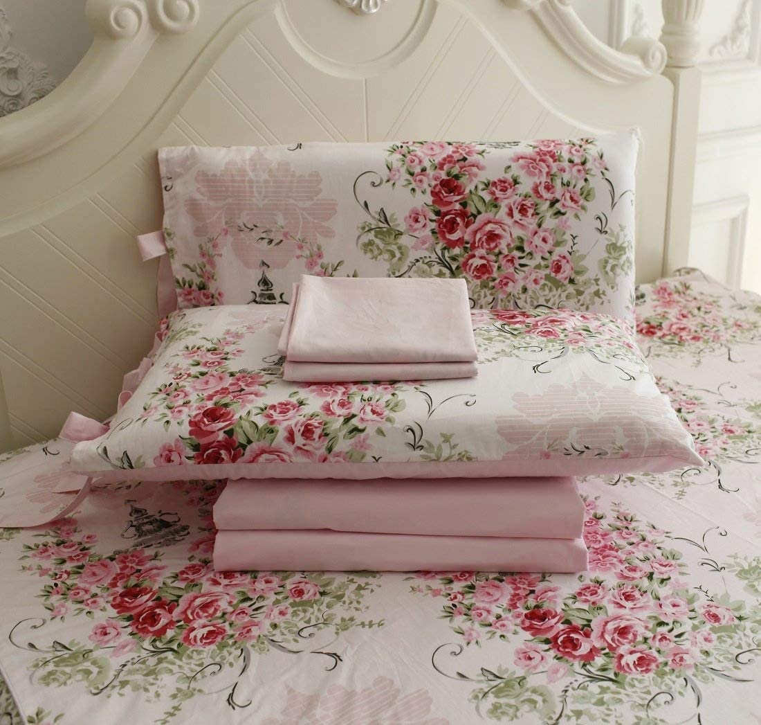 FADFAY Shabby Floral Bedding Set Queen Size Sheet Set 4 Piece Premium 100% Cotton Pink Rose Pattern :1 Deep Pocket Fitted Sheet, 1Flat Sheet, 2 Pillowcases (Standard Size)