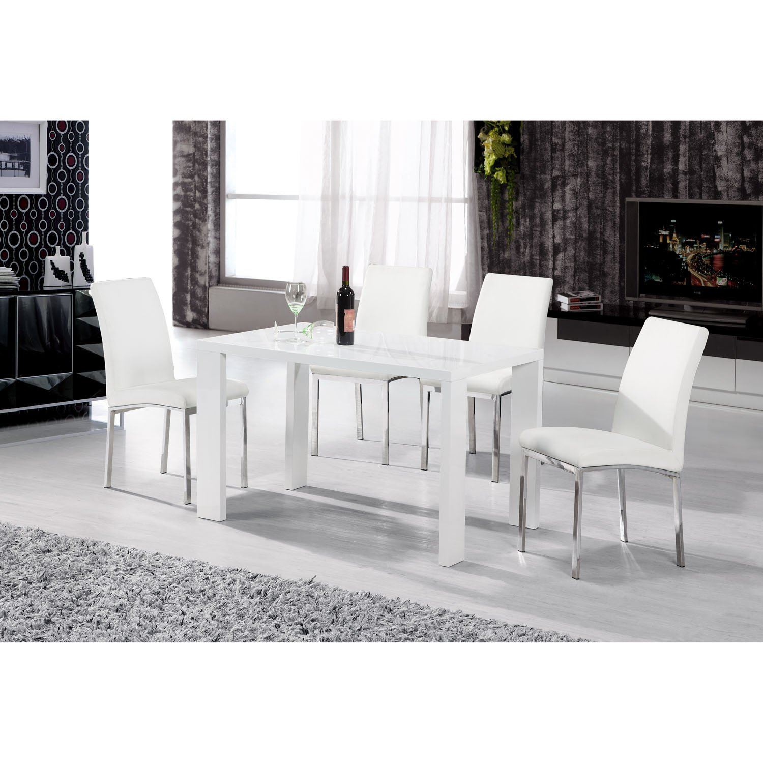 Heartlands Peru White High Gloss 130cm Dining Table In Wood   Rectangular  Dining Table   White Dining Table: Amazon.co.uk: Kitchen U0026 Home