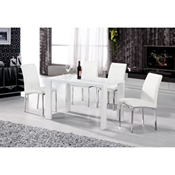 Heartlands Peru White High Gloss 130cm Dining Table In Wood