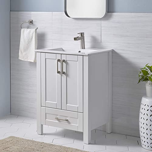 ENGELCH Modern Small 24 Inch 2 Doors Stand White Bathroom Vanity