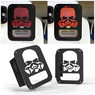 KEENAXIS for 2007-2020 Jeep Wrangler JK Unlimited Pair Taillight Covers Stainless Steel, Jeep Wrangler Tail Light Guards Cover Automotive Accessories Rear Tail Lights Covers Protectors - Black: Automotive