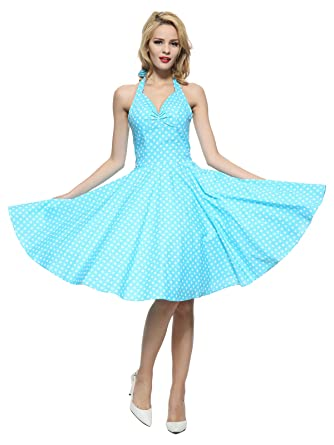 cc590b87c63 Maggie Tang Vintage Women s 1950s dots Rockabilly Size S Color Blue White
