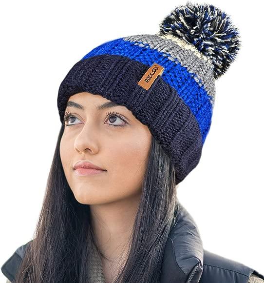 Rockjock KNITTED Bobble Hat Pom Pom Thermal Fleece Women Winter Ski Insulated UK
