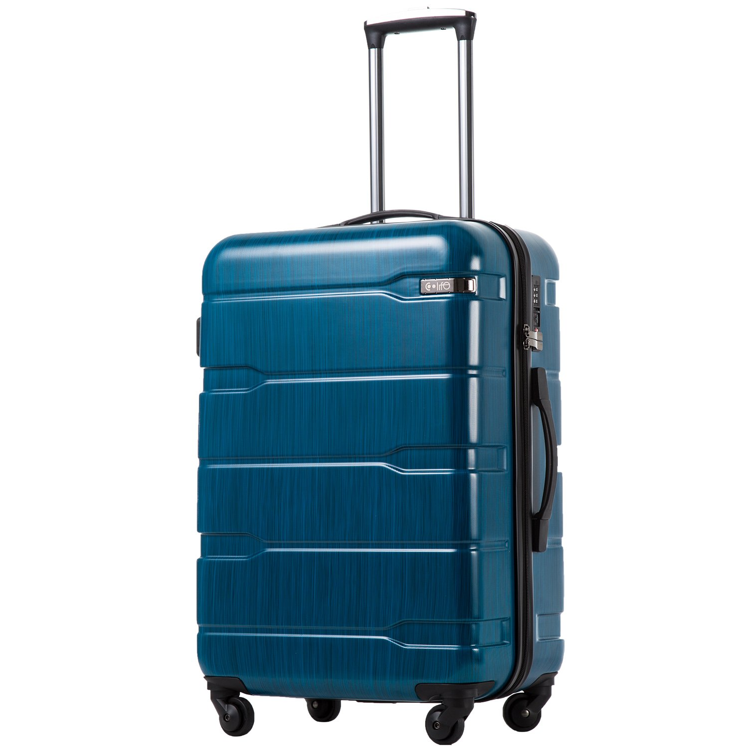 Coolife Luggage Expandable Suitcase PC+ABS Spinner 20in 24in 28in Carry on (Caribbean Blue new, L(28in))