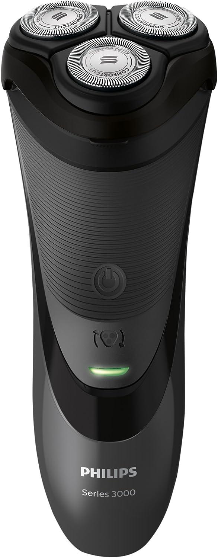 Philips S3110/06 - Afeitadora eléctrica en seco, con cuchillas ComfortCut, cabezales de 4 direcciones, negro cromado metálico