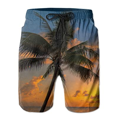 Silhouetted Of Coconut Tree During Sunrise Fe Joyent Men's Self-cultivation Sports Waterproof Travel Beach Shorts