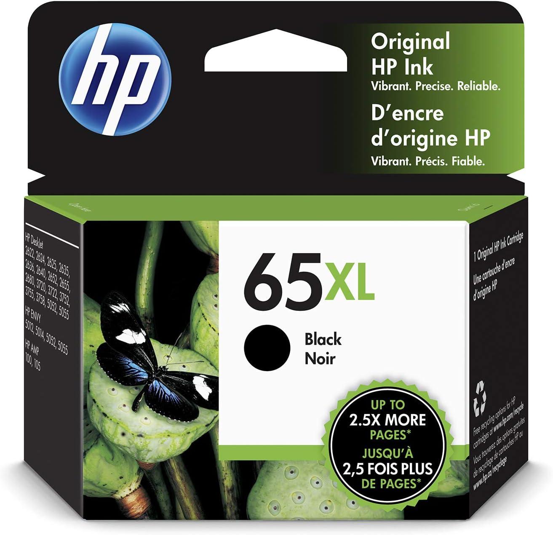 HP 65XL | Ink Cartridge | Black | Works with HP DeskJet 2600 Series, 3700 Series, HP ENVY 5000 Series, HP AMP 100, 120, 125, 130 | N9K04AN