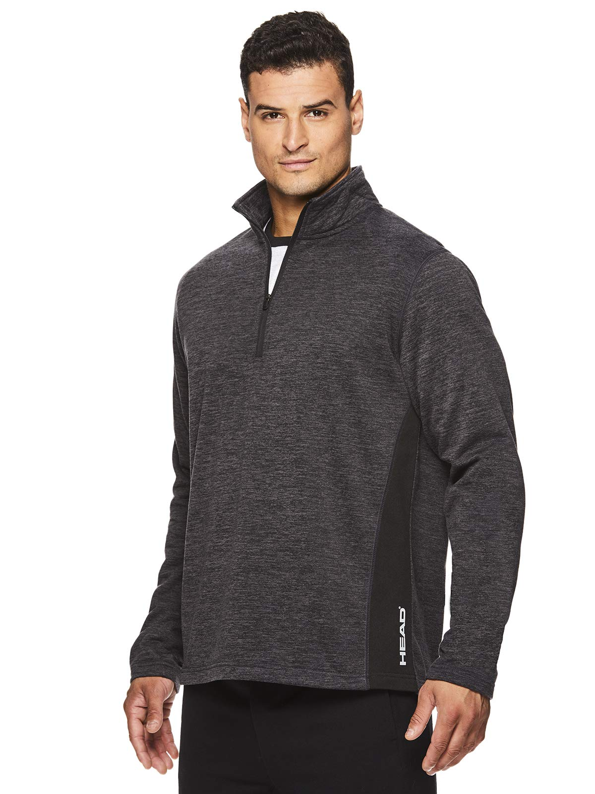 HEAD Men's 1/4 Zip Up Activewear Pullover Jacket - Long Sleeve Running & Workout Sweater - Warm Up Black Heather, Small
