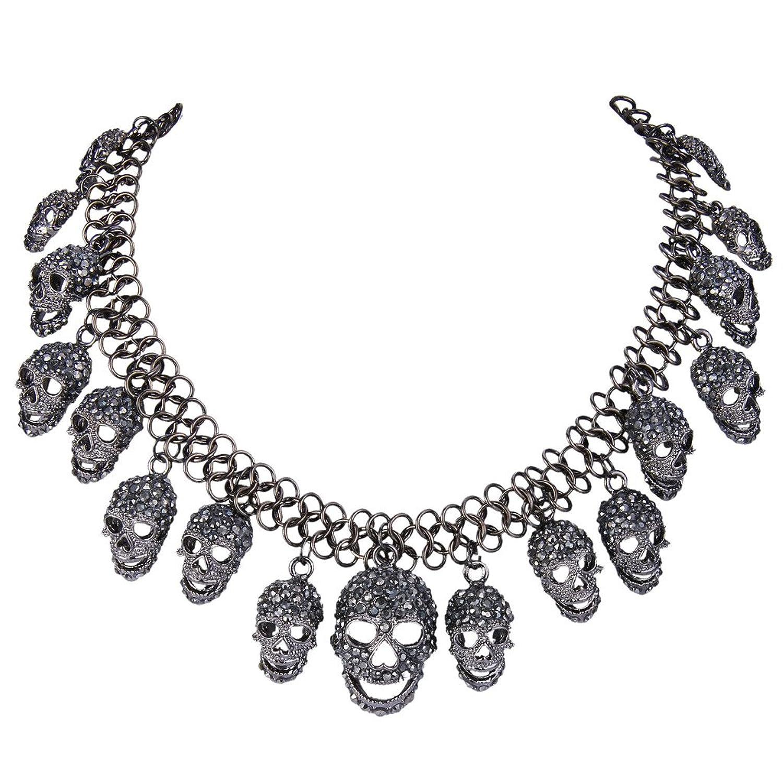 EVER FAITH Skull Pendant Necklace Black Austrian Crystal