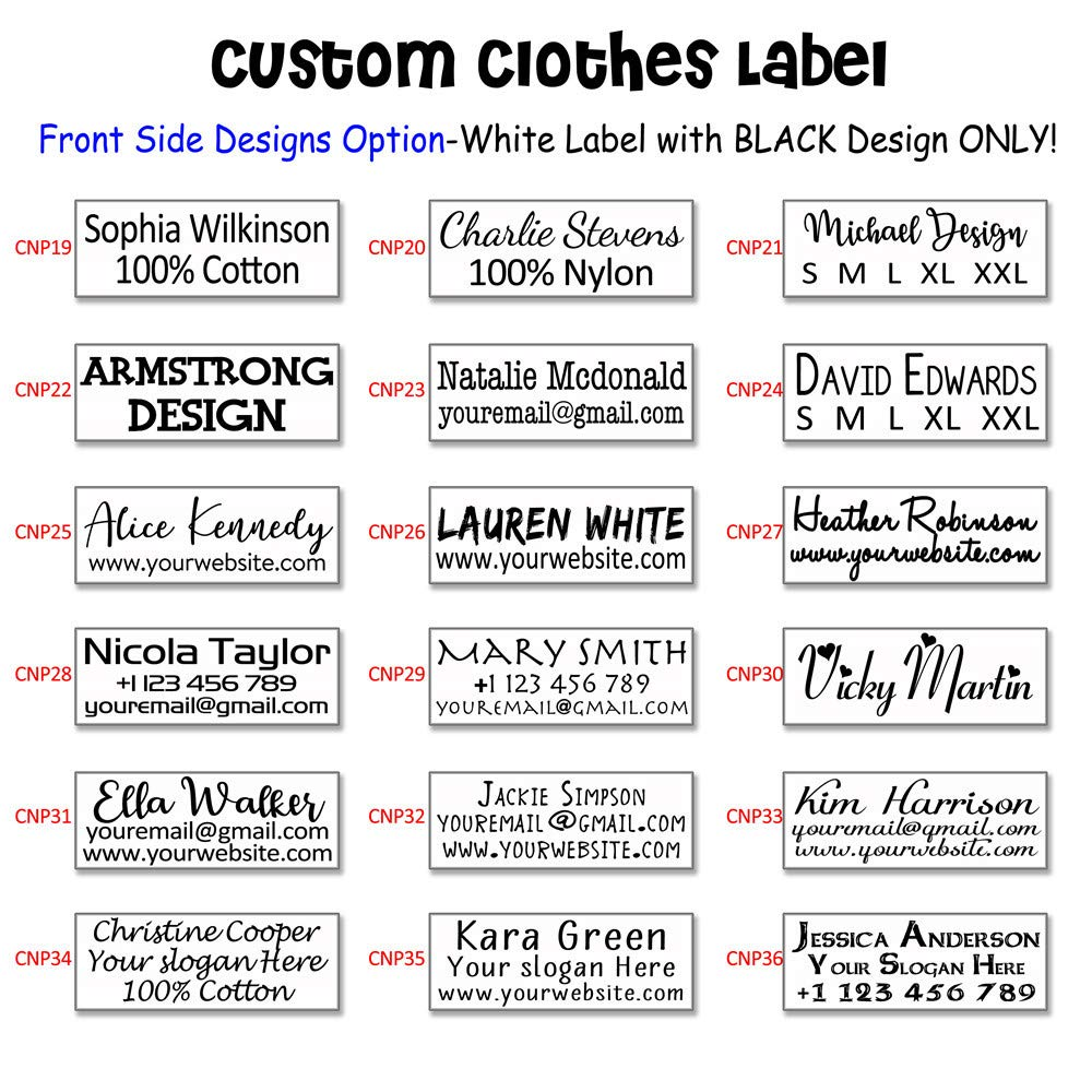 100pcs 1.2/×1.5 Personalized Fabric Clothing Garment Bag Label Sew On LOGO Brand Name Hanging Tag Handmade