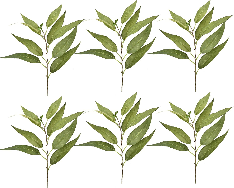 Artificial Eucalyptus Leaves, Faux Fake Green Plant Tropical Indoor Outdoor for Home Kitchen Party Arrangement Wedding Window Door Decor