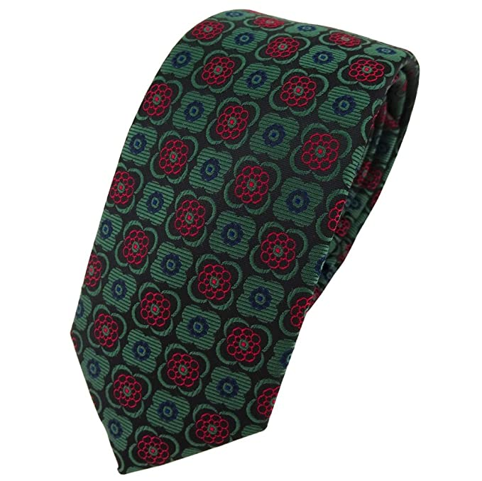 TigerTie - corbata estrecha - verde borgoña negro marina modelada ...