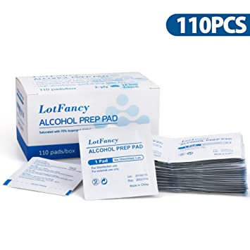 461c5fbfea32d Alcohol Prep Pads by LotFancy, Isopropyl Rubbing Alcohol Wipes, Sterile  Alcohol Swabs, 110 Count,...