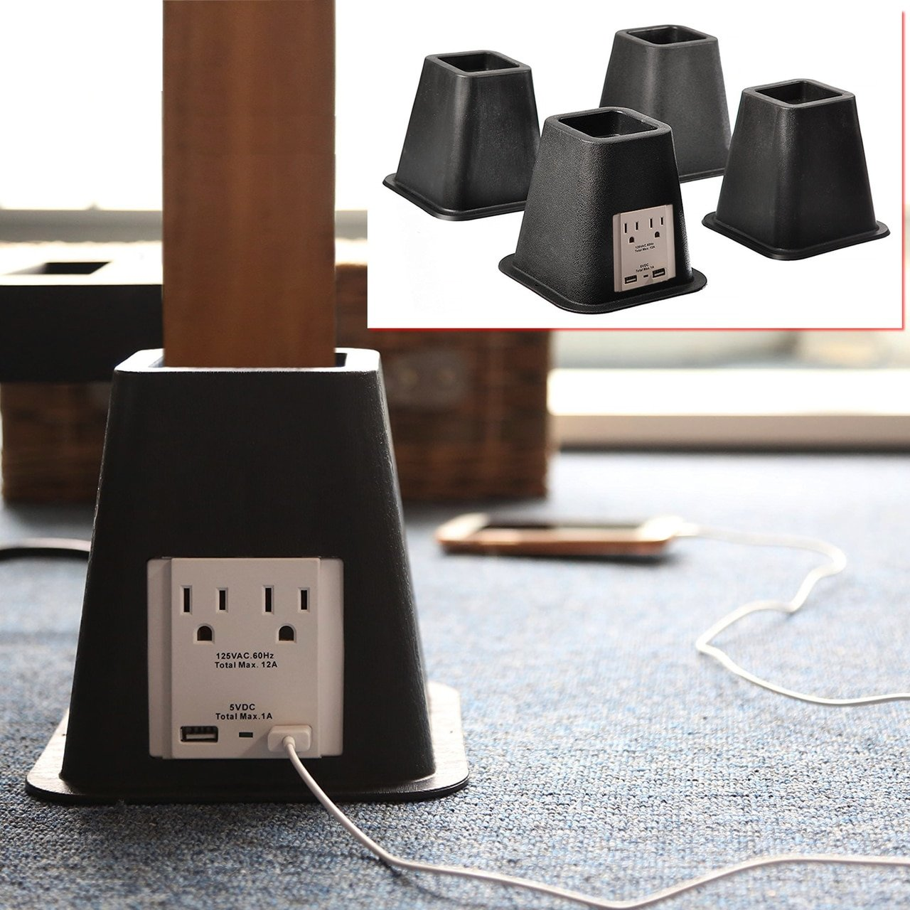 Bed Risers with USB Ports & Outlets Mainstays
