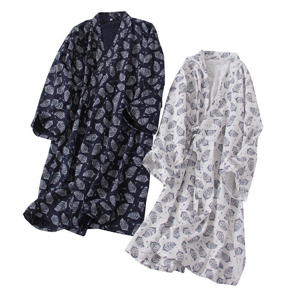 FANCY PUMPKIN Mens Yukata Robes Kimono Robe Khan Steamed Clothing Pajamas #07 M