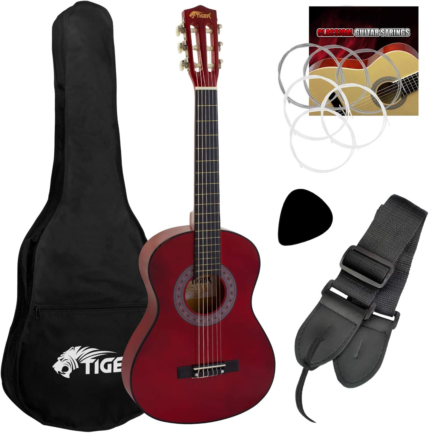 Tiger - Set de guitarra clásica de 3/4, color rojo