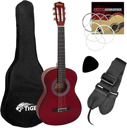 Tiger - Guitarra de concierto (tamaño 1/2, incluye accesorios ...