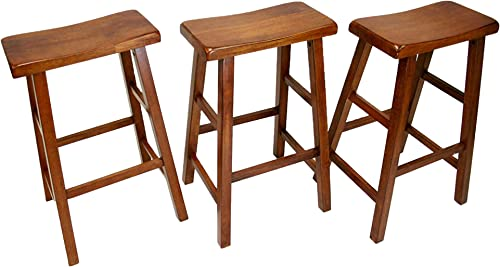eHemco Heavy-Duty 29 Saddle Seat Barstools, Dark Oak, Set of 3