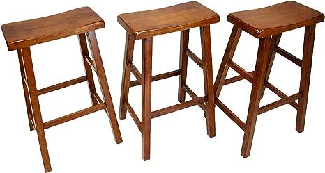 Ehemco Heavy Duty 29 Saddle Seat Barstools Dark Oak Set Of 3 Kitchen Dining
