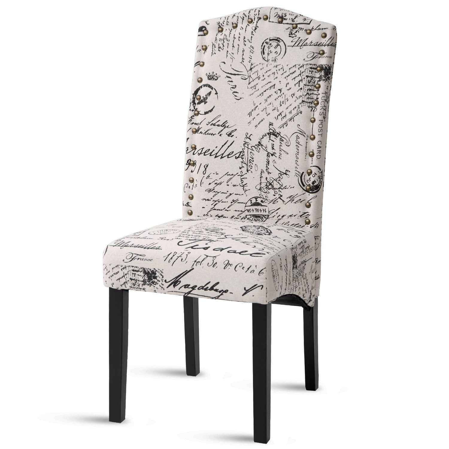 Merax PP036312AAA Dining Script Fabric Accent Chair with Solid Wood Legs, Set of 2 by Merax (Image #2)