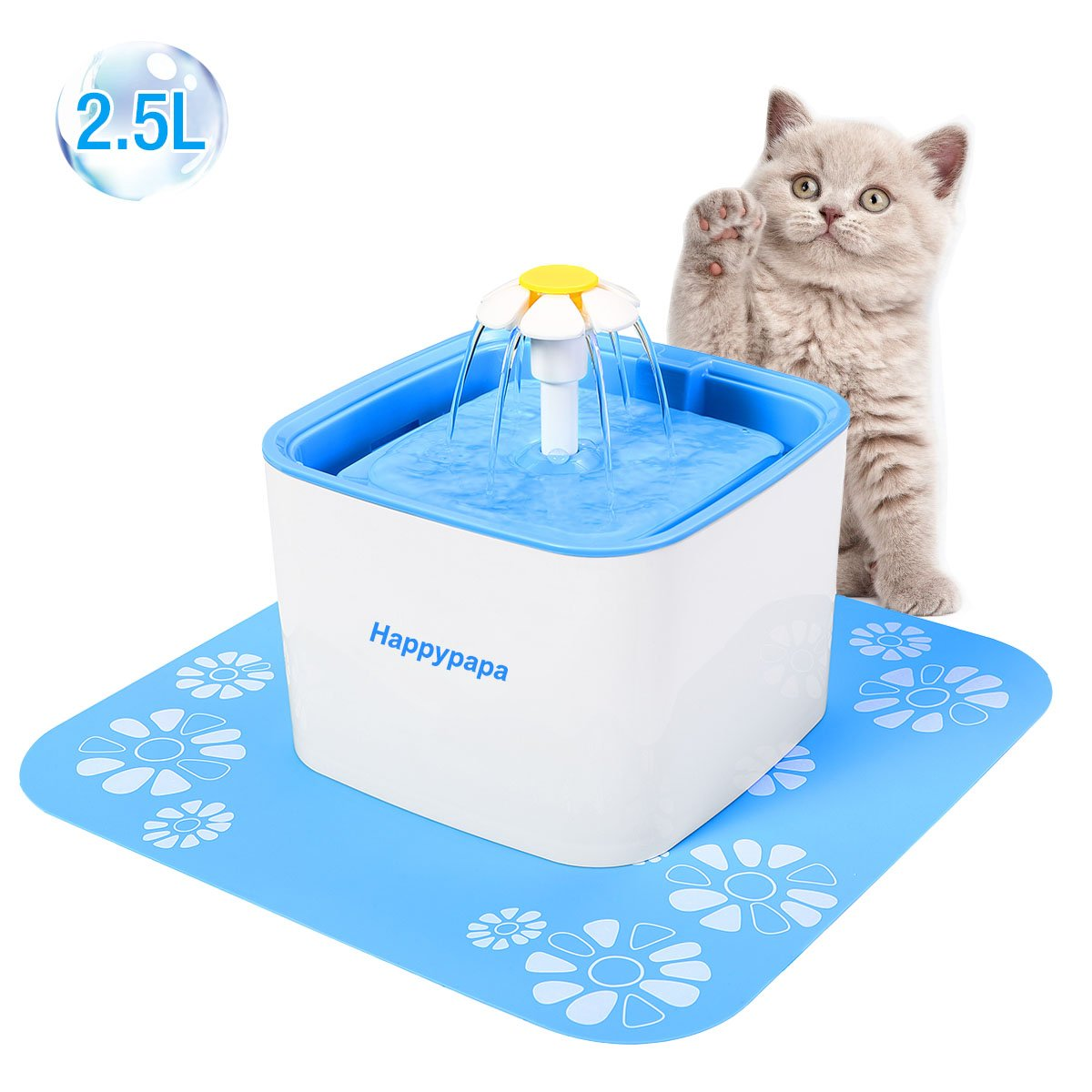 [Newest 2018 Upgraded] Cat Fountain 2.5L Healthy and Hygienic Pet Fountain Ultra Quiet Cat and Dog Flower Fountain Suit for Cats Dogs Birds and Small Animals (Blue)