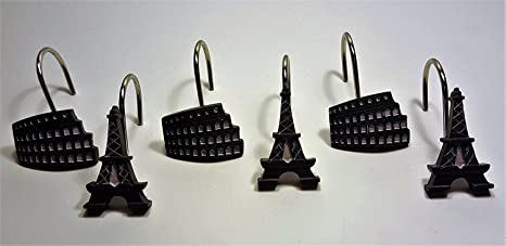 Amazon Paris Stamps Shower Curtain Hooks