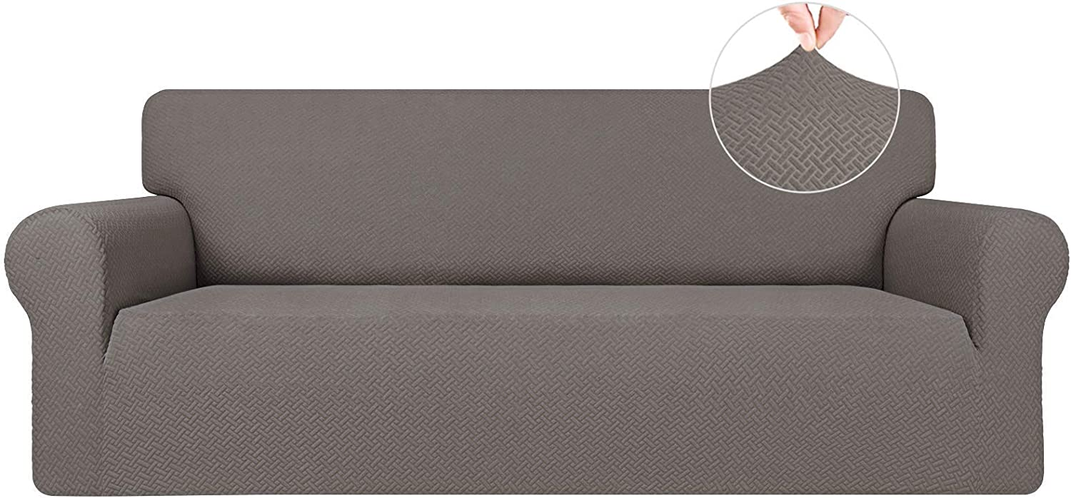 Easy-Going Stretch Jacquard Couch Cover, 1-Piece Soft Sofa Cover, Sofa Slipcover with Anti-Slip Foams, Washable Furniture Protector for Kids, Dogs, Cats ( Sofa, Taupe)