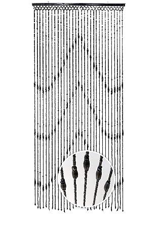 Kobolo Türvorhang Holzperlenvorhang Wood schwarz 31 Stränge 90x200