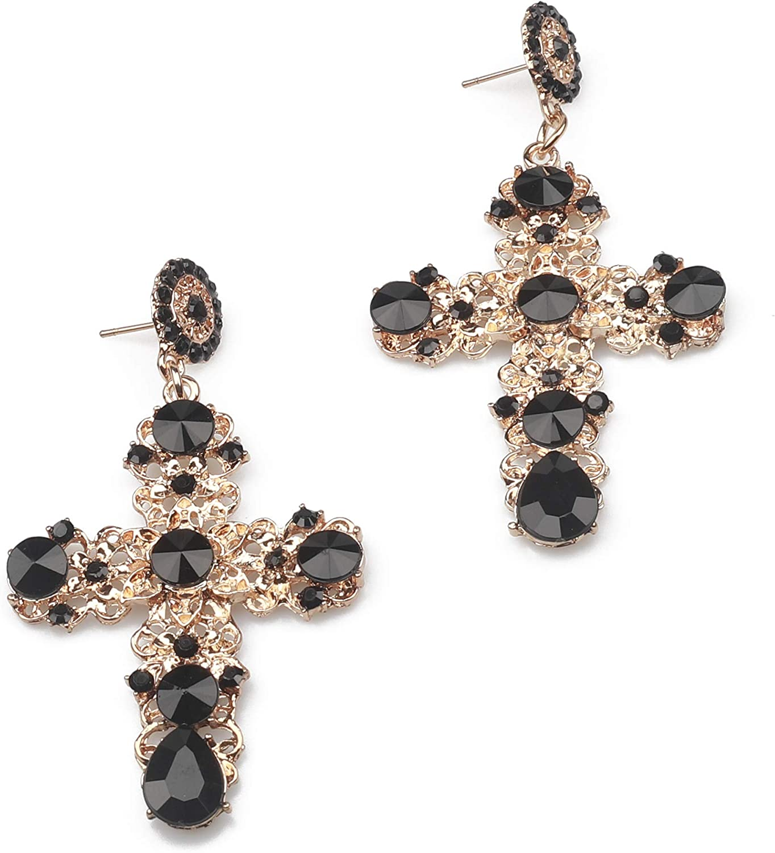 Pendientes largos con forma de cruz de Kercisbeauty, con diamantes de imitación, estilo bohemio, para mujeres y niñas, bares, fiestas, cumpleaños, aniversarios, uso diario, regalos y accesorios
