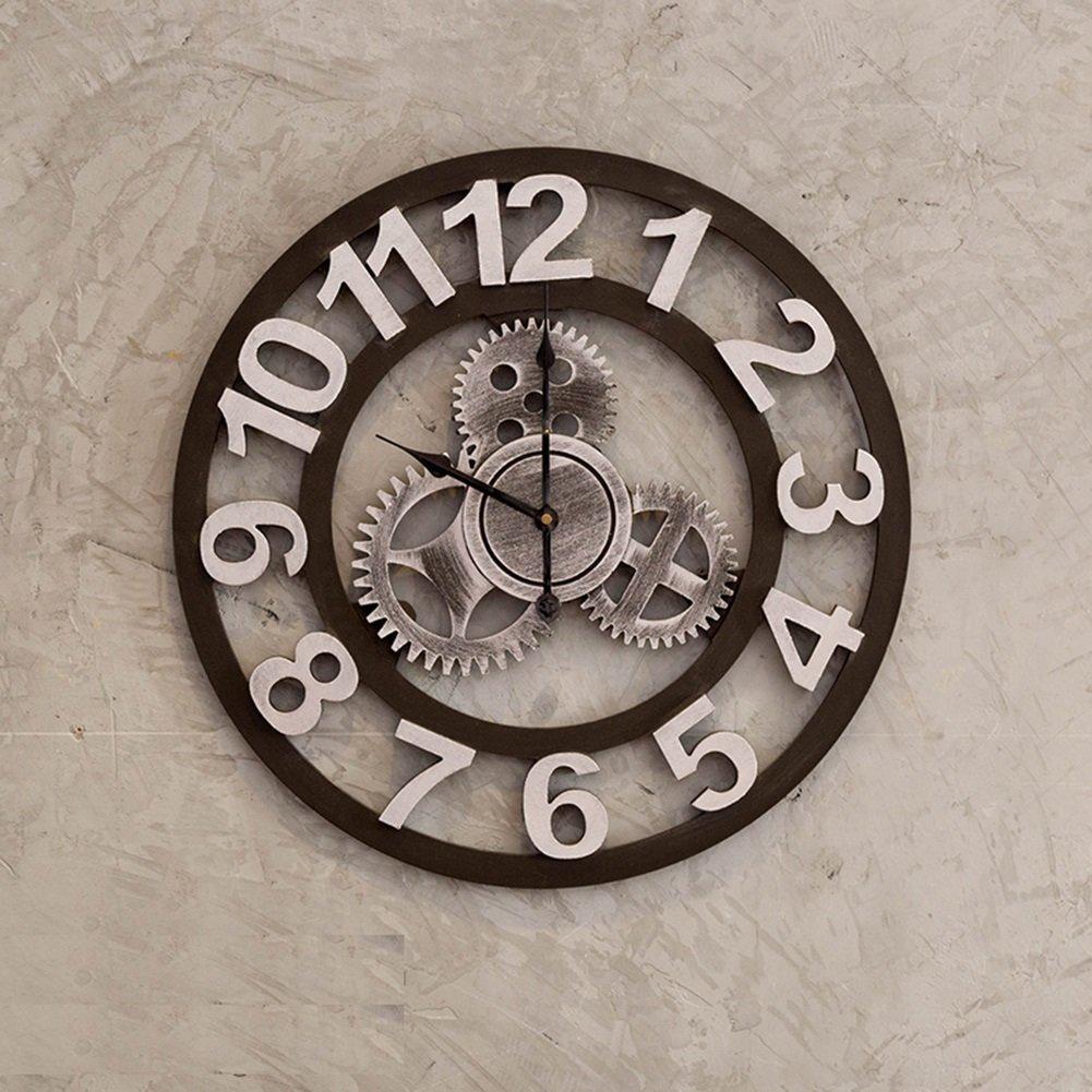 CSQ ソリッドウッドの壁時計、カフェバーレストランリビングルームの壁時計木製の壁時計の装飾ビンテージウォールクロック直径49.5から70CM ウォールクロックと掛け時計 (色 : #2) B07DN8HPT5#2