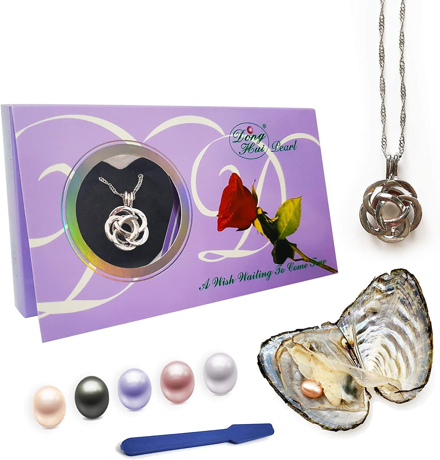 ORCHKID Oyster Pearl Necklace Kit, DIY Necklace Making Kit, Mysterious Pearl Gift Set, Oyster with Pearl Inside, Elegant Pendant with 20