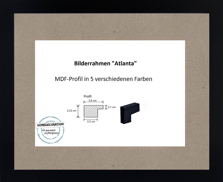 Atlanta MDF Bilderrahmen 45 x 61 cm Größen Auswahl 61 x 45 cm hier  Schwarz Matt mit Acrylglas Antireflex 2 mm