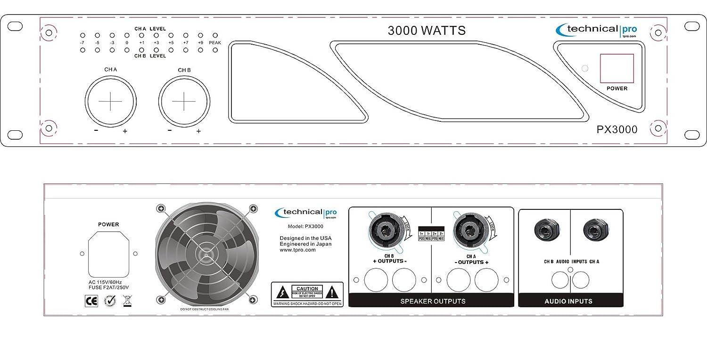 technical pro 3000 watt professional 2 ch power amplifier