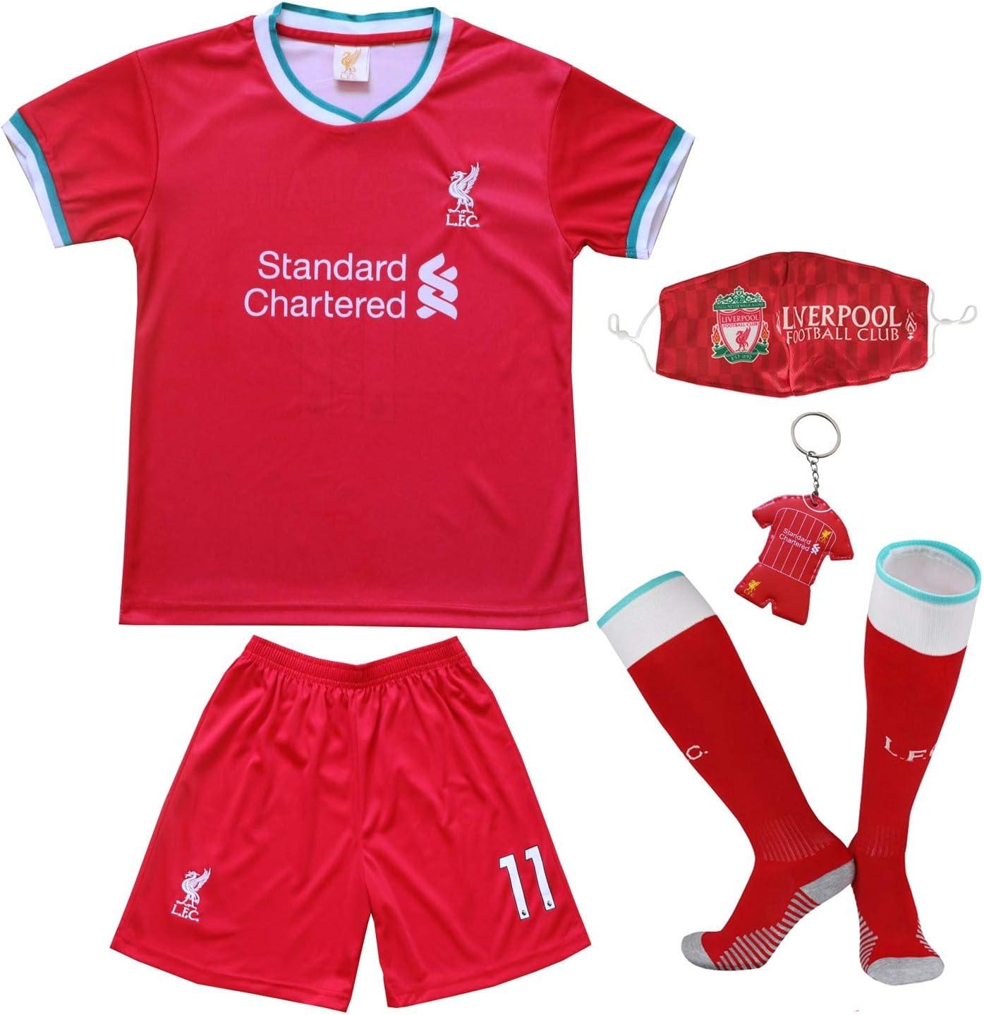 BIRDBOX Youth Sportswear Liverpool Mohamed Salah 11 Kids Home Soccer Jersey/Shorts Bag Keychain Football Socks Set
