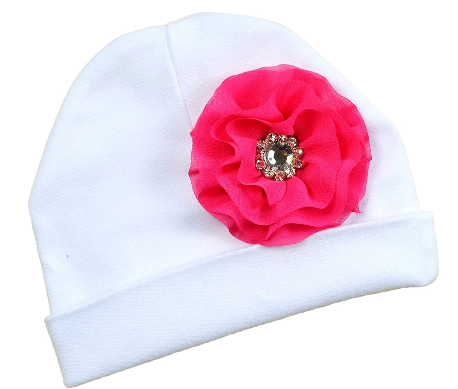 Baby Girls Cotton Beanie with Michaela Chiffon Flower Funny Girl Designs