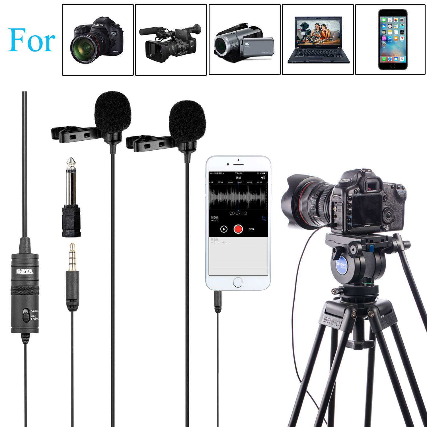 PC Microphone Dual-Head Lavalier for Smartphones Cameras, 157 Inches/4m BOYA Universal Mic with 1/8 Adapter for iPhone 11 X 8 7 Canon DSLR Camcorders Audio Recorder Podcast YouTube Video Livestream by BOYA