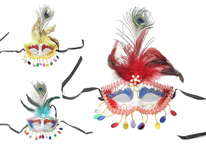 cfde32131e8b We pay your sales tax Set of 3 Women's Flower Feather Lace Eye Mask  Masquerade Ball
