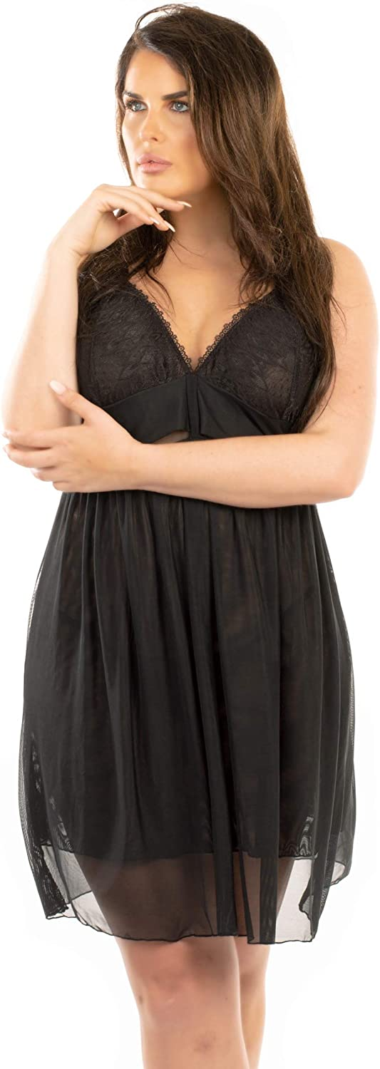 Perfect4U Red Double Layer Lace /& Mesh Plus Size Nightwear Babydoll with Matching Thong Sizes 18-32